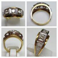 Bicolor Goldring 585 er Gold Ring m Brillanten 0,45 Ct Brillantring