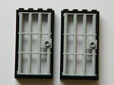 Lego barred door gate 1x4x6 Noir Gris x2 pour Castle prison cachot prison barres +