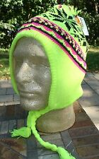 Neon Florescent Yellow Snowflake Pom Hat Aviator Trapper Alpine Winter Knit Cap