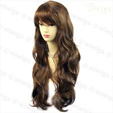 Wiwigs Beautiful Light Chestnut Brown Long Layered Way Skin Top Ladies Wig