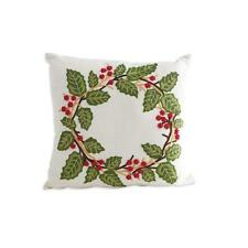 "18"" Square Linen Pillow with Embroidered Holly Wreath Winter Christmas Decor"