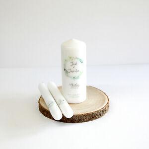 Personalised Wedding Unity Candle Set Gift Keepsake Poem Centrepiece Botanical