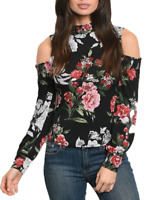 Women's Cold Shoulder Sexy Floral Print Full Sleeve Blouse Tops Tees t-shirt