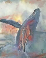 PRINT Humpback Whale Breaching Watercolor Seallife Wildlife Painting Wall Art