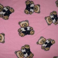 CHILD PINK TEDDIES BLANKET FLEECE Soft Warm bed travelling 95x70cm washable