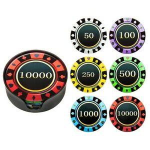 Various Gambling Chip Glass Coasters Round Set 6 in Holder