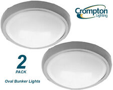 2 x Plain Silver Oval Exterior Bunker Light Outdoor Polycarbonate 145 x 210mm