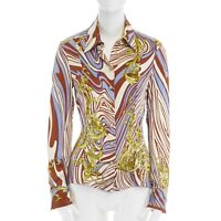 VERSACE gold baroque swirl print silk Medusa button slim fit shirt IT42 US4 S