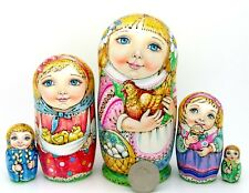Matryoshka Russian Dolls 5 PYROGRAPHY EASTER Girls Chicken GENUINE CHMELEVA GIFT
