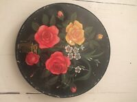 "Vtg TOLEWARE Candy TIN Round Hand Painted 10"" Black Bright Red Yellow Flowers"
