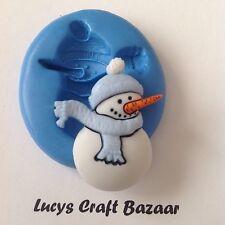 Silicona Molde Sugarcraft Muñeco De Nieve Navidad Tarjeta Cake Topper Sculpey Joyas Glaseado