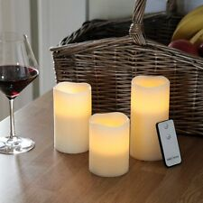 NEW SET OF 3 LED SOFT FLAMELESS CANDLES FLICKERING FLAME PILLAR REMOTE CONTROL
