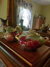 Large Limoges Hand Painted  Creamer Sugar Bowl Set, Artist Signed and Dated