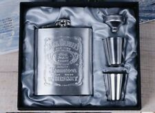 NEW Jack Daniels Stainless Steel Hip Flask Old No. 7 Tennessee Whiskey Set