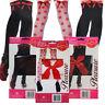 Ladies Pleasure Hold ups Stockings Hot Red Bow Black white Women's Kisses Design