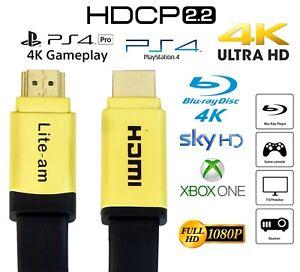 Flat HDMI Cable v2.0 4K Ultra HD 1m 2m 3m 5m 6m 7m 10m High Speed 2160p 3D Lead