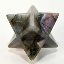 "2.5"" Rare Rainbow Flash Labradorite 8 Point Merkaba Crystal Star - Madagascar"
