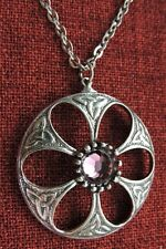 Celtic Knot Crystal Pendant Irish Flower Kells Iona Amethyst Pewter Necklace