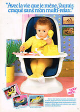 PUBLICITE ADVERTISING 025  1980  BABY-RELAX   siège bébé MULTI-RELAX