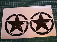 2 Willys Weathered Stars Decals 5x5 Stickers Graphics Army 4x4 US Military Jeep