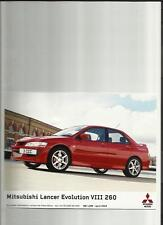 "MITSUBISHI LANCER EVOLUTION VIII 260 ORIGINALE STAMPA FOTO ""SALES BROCHURE"" 2004"