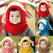 UK Baby Toddler Winter Beanie Hat Girls Boys Hooded Scarf Earflap Knitted Cap PS