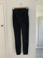 Karen Millen Black Skinny Jeggings Button Detail Size 8