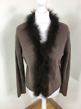 Monsoon Chocolate Brown Lambswool angora feather trim Cardigan Size 18 (AZ)