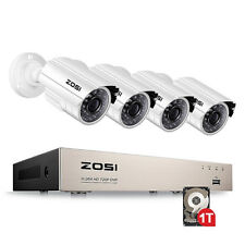 ZOSI 1tb 8ch Firm Shell 1080n 1500tvl Home CCTV Security Camera System Gift