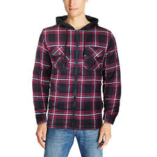 U.S. Life Men's Zip Up Plaid Checkered Quilted Flannel Sweater Hoodie 52223