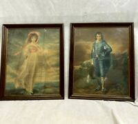 "Vintage Set Boy Blue And Pinkie Framed Prints Wood Frame 18"" x 22"""