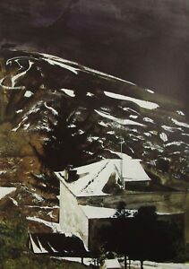Vintage Art Andrew Wyeth 1975 Wolf Moon Snow Winter House Mountain Valley Winter
