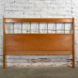 Paul McCobb Planner Group Mid Century Modern Full-Size Headboard Brass & Birch