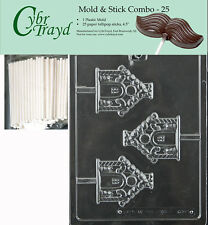 Gingerbread House Lolly Chocolate Mold w/Cybrtrayd Instructions FREE STICKS