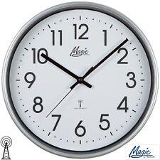 Magic 4491/19 Horloge murale radio-pilotée de bureau d'atelier cuisine argent
