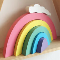 WOODEN RAINBOW STACKING BUILDING BLOCKS BRICKS GAME KIDS EDUCATIONAL TOY