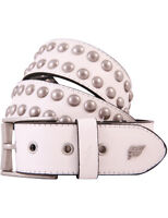 Lowlife Sphere Leather Belt in White