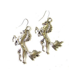 Silver Tone Galloping Horse Drop Earrings Hook Boho Festival Pony Unicorn 2043