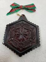 "Vintage Avon CapeCod Collection Pressed ""Sandwich"" Glass Christmas Ornament 1990"