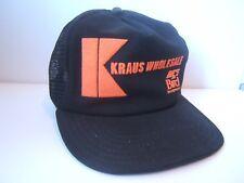 Kraus Wholesale Bird Textured Print Hat VTG Black Snapback Trucker Cap Made USA