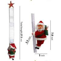 Electric Climbing the Ladder Santa Claus Christmas Figurine Party Toy B9M6