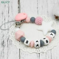 NEW Personalised Name Silicone Baby Pacifier Clip Colorful Customized Chain Baby