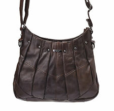 Ladies Zipped Shoulder - Cross Body Bag with Pleat and Stud Design