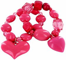 "Hot Pink Heart Valentine Bracelet Heart Charm 2 pcs/set 7.5"" New w/ Gift Bag"