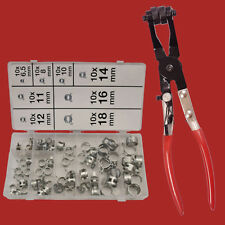 80-tlg. Federband-Schellen Sortiment+Schlauchklemmen-Zange ABGEWINKELT Feder Cli