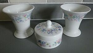 Wedgwood Bone China, Angela Pattern, 2 x Posy Pot and 1x Trinket Dish, all BOXED