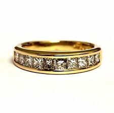 14k yellow gold 1ct Vs1 G princess diamond channel set wedding band ring 3.8g