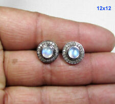 Blue Flash Rainbow Moonstone Earrings 925 Sterling Silver Pave Diamond Studs OD8