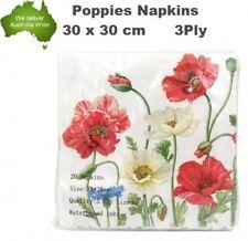 PK20 Poppies Napkins Luncheon Paper Napkin 3ply Flower Tea Party Serviette Anzac