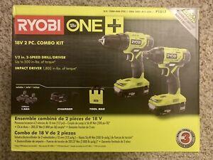 Ryobi ONE+ 18V Drill/Driver, Impact Driver, 2x 1.5Ah Batteries + Charger, Bag